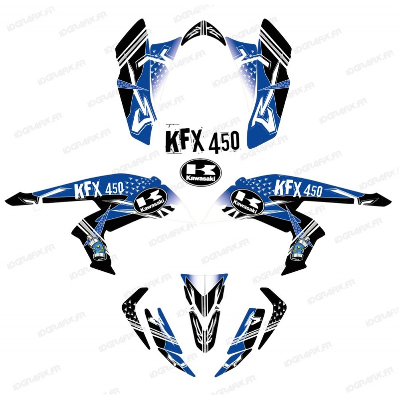 Kit décoration Street Bleu - IDgrafix - Kawasaki KFX 450R - Idgrafix
