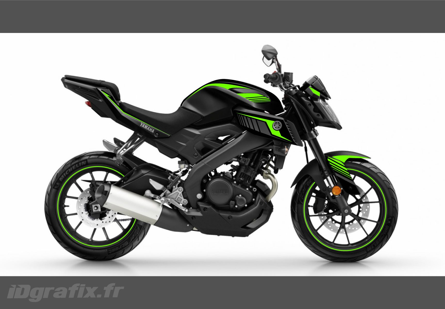 kit dekor racing neon gr n idgrafix yamaha mt 125 idgrafix. Black Bedroom Furniture Sets. Home Design Ideas