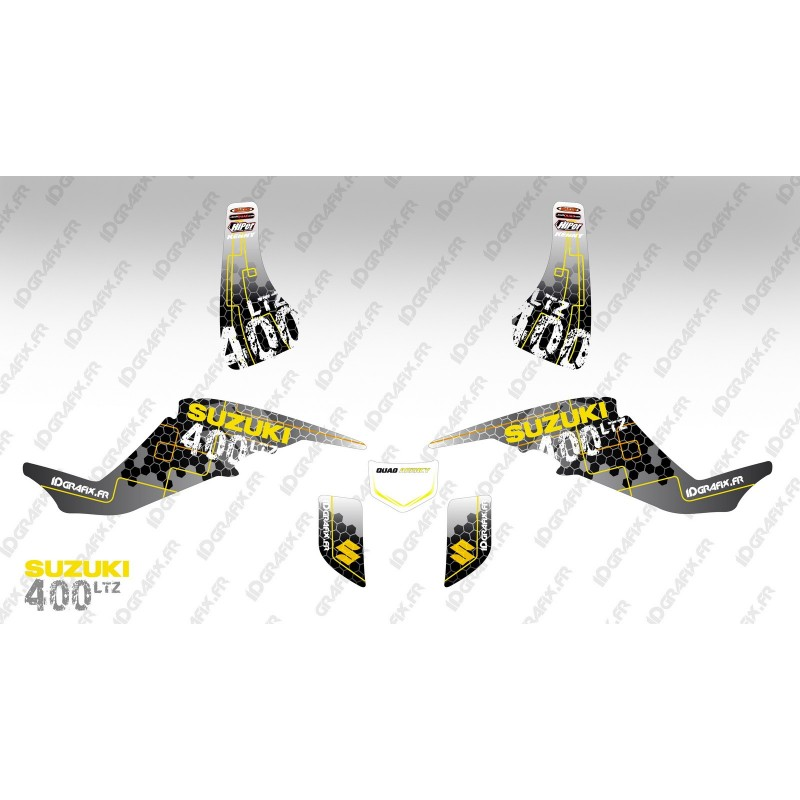 Kit décoration Racing Power Jaune - IDgrafix - Suzuki  LTZ 400 - Idgrafix