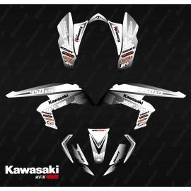 Kit de decoración de Carreras de Poder Negro/Blanco - IDgrafix - Kawasaki KFX 450R
