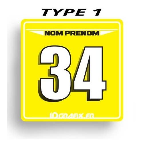 Plaque Numéro 100 % Perso - Type 1 (Jaune)-idgrafix