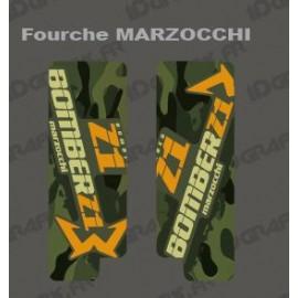 Sticker Schutz-Gabel Camo(Grün) Marzocchi-Bomber-idgrafix