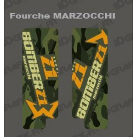 Stickers Protection Fork Camo(Green) - Marzocchi Bomber - IDgrafix