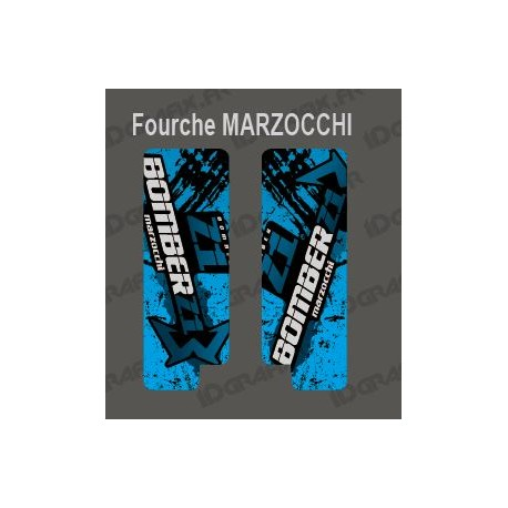 Stickers Protection Fork Brush (Blue) - Marzocchi Bomber-idgrafix