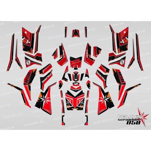 Kit de decoración de SpiderStar Rojo/Negro (Completo) - IDgrafix - Polaris Scrambler 850