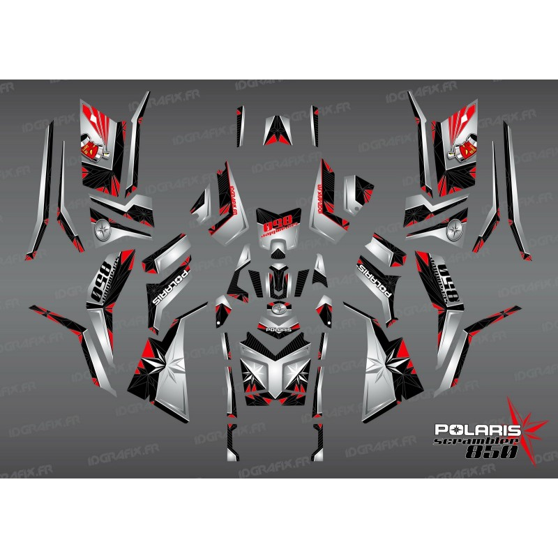 Kit decoration SpiderStar-Black/Gray (Full) - IDgrafix - Polaris 850/1000 Scrambler - IDgrafix
