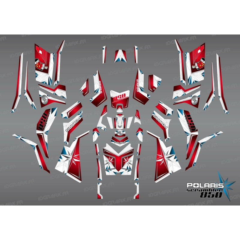 Kit de decoració SpiderStar Vermell/Blanc (Complet) - IDgrafix - Polaris 850/1000 Scrambler -idgrafix