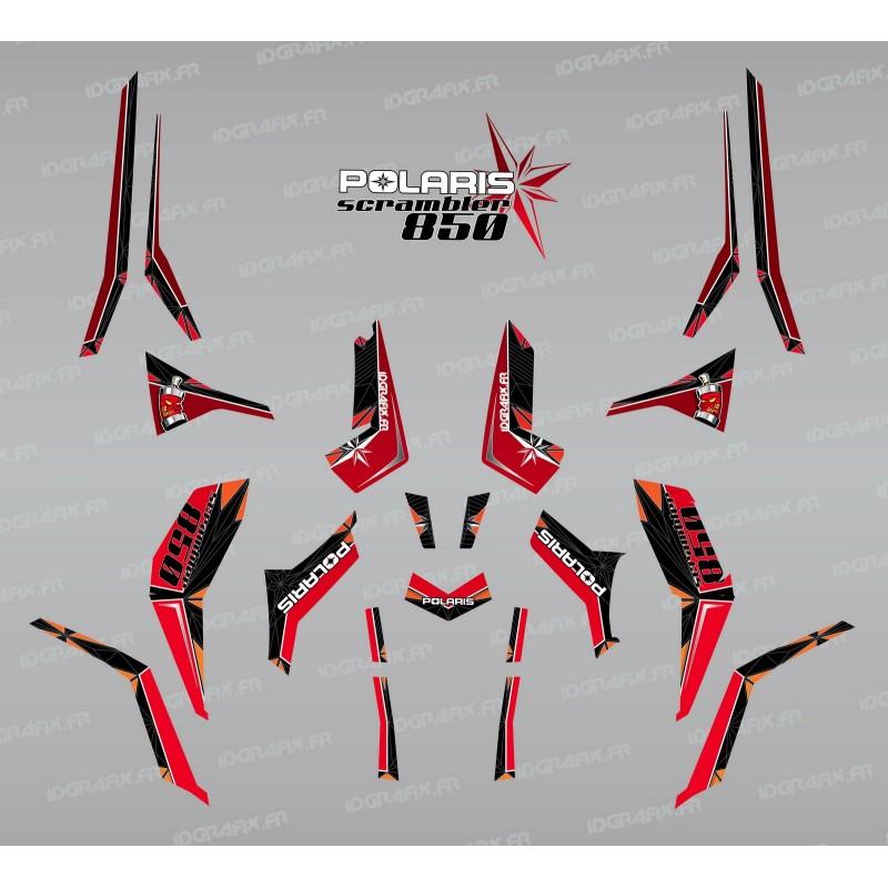 Kit de decoración de SpiderStar Rojo/Negro (Luz) - IDgrafix - Polaris Scrambler 850 -idgrafix