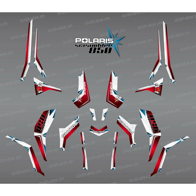 Kit de decoración de SpiderStar Rojo/Blanco (Luz) - IDgrafix - Polaris Scrambler 850 -idgrafix