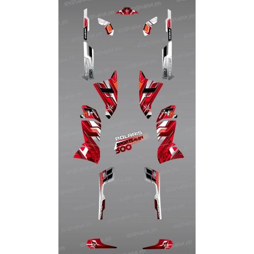 Kit de decoración de Picos Rojos de la Serie - IDgrafix - Polaris 500 Deportista