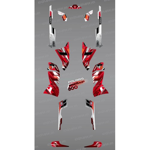 Kit dekor Red Pics Series - IDgrafix - Polaris Sportsman 800