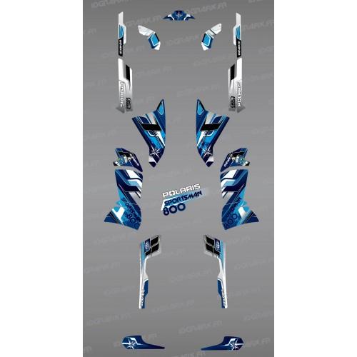 Kit de decoración Azul Picos de la Serie - IDgrafix - Polaris 800 Deportista  -idgrafix