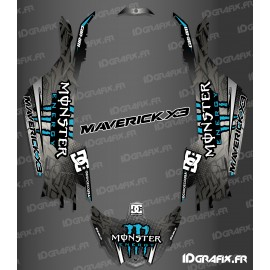 Kit de decoración de DC de la Serie Azul - Idgrafix - Can Am Maverick X3 -idgrafix