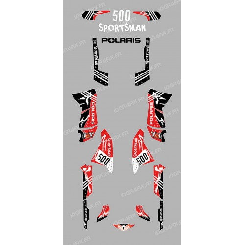 Kit de decoración de la Calle Rojo - IDgrafix - Polaris 500 Deportista