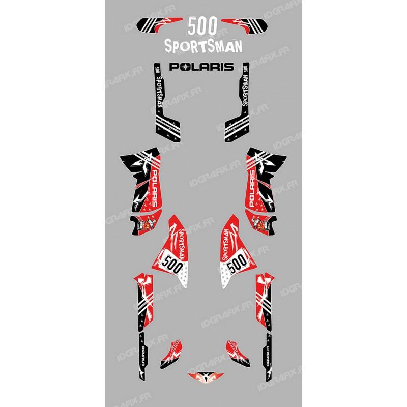 Kit de decoración de la Calle Rojo - IDgrafix - Polaris 500 Deportista -idgrafix