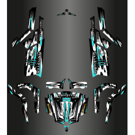 Kit décoration Monster Edition FULL (Gris/Bleu Turquoise) - Idgrafix - CF Moto ZForce