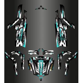 Kit decoration Monster Edition FULL (White / Turquoise Blue) - Idgrafix - CF Moto ZForce-idgrafix