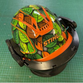 Sticker Leaf edition (Green / Orange) - STIHL Helmet-idgrafix
