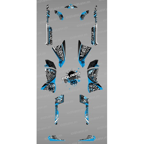 Kit de decoración de Etiqueta Azul - IDgrafix - Polaris 800 Deportista