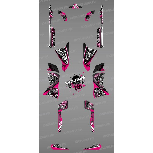 Kit de decoración de color Rosa de la Etiqueta - IDgrafix - Polaris 800 Deportista