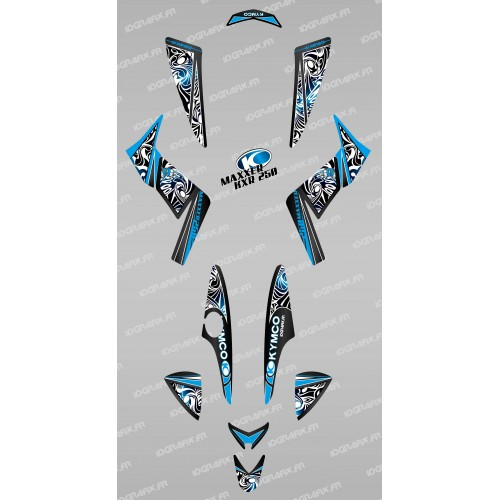 photo du kit décoration - Kit décoration Tribal Bleu - IDgrafix - Kymco 250 KXR/Maxxer