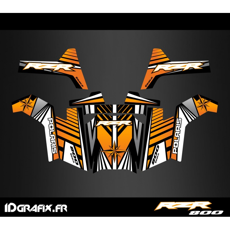 Kit de decoració Línia d'Edició (Taronja) - IDgrafix - Polaris RZR 800S -idgrafix