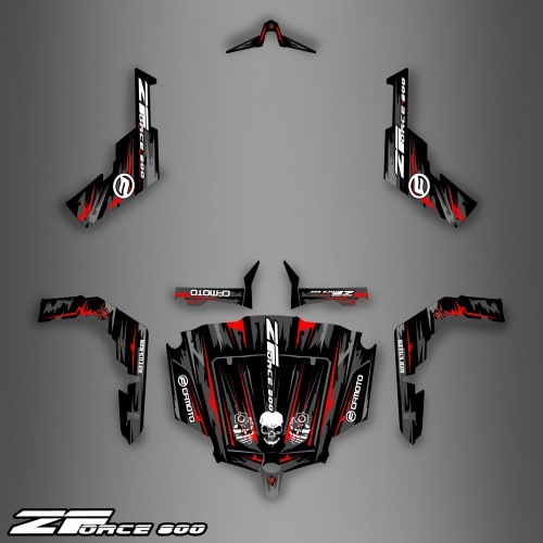 Kit dekor Dark Red Edition - Idgrafix - CF Moto ZForce-idgrafix