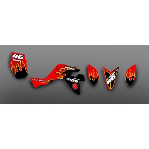 Kit de decoración de Rojo Quemado IDgrafix - Suzuki LTZ 400 me