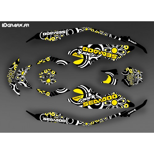 Kit dekor Full Spark Yellow Polynesian für Seadoo Spark -idgrafix