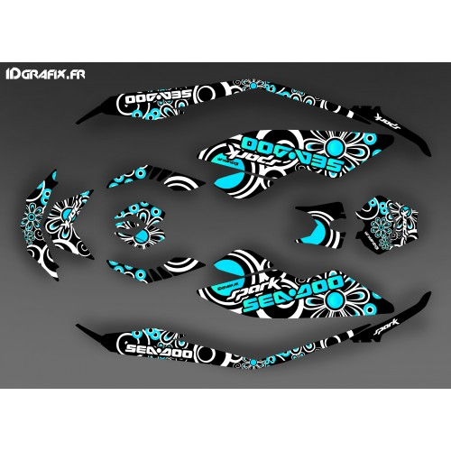 Kit decoration, Full Spark Blue Polynesian for Seadoo Spark - IDgrafix