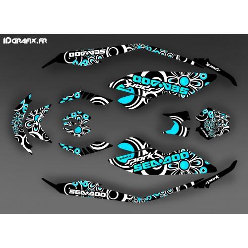 Kit di decorazione, Completa Scintilla Blu Polinesiano per Seadoo Scintilla -idgrafix