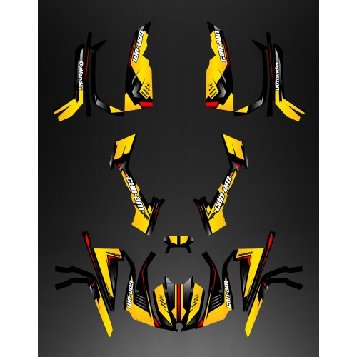 Kit décoration Full Wasp (Jaune/Rouge) - IDgrafix - Can Am série L Outlander