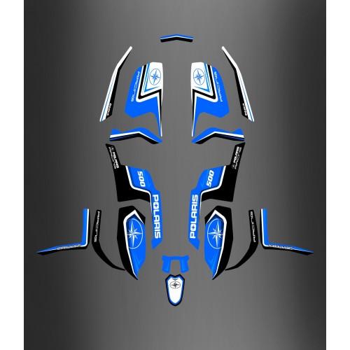 photo du kit décoration - Kit décoration Polaris Racing Blue - IDgrafix - Polaris 500 Scrambler (après 2012)