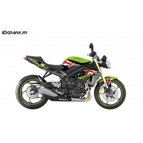 Kit déco Perso pour Triumph Speed triple (vert + GB Flag) -idgrafix