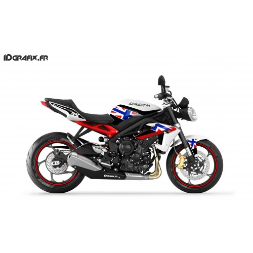 Kit déco Perso pour Triumph Speed triple (Rouge/Bleu+GB Flag) -idgrafix