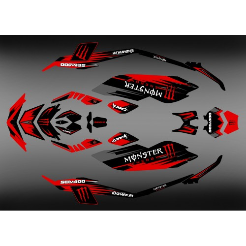 Kit decoration, Full Spark Monster Red for Seadoo Spark - IDgrafix