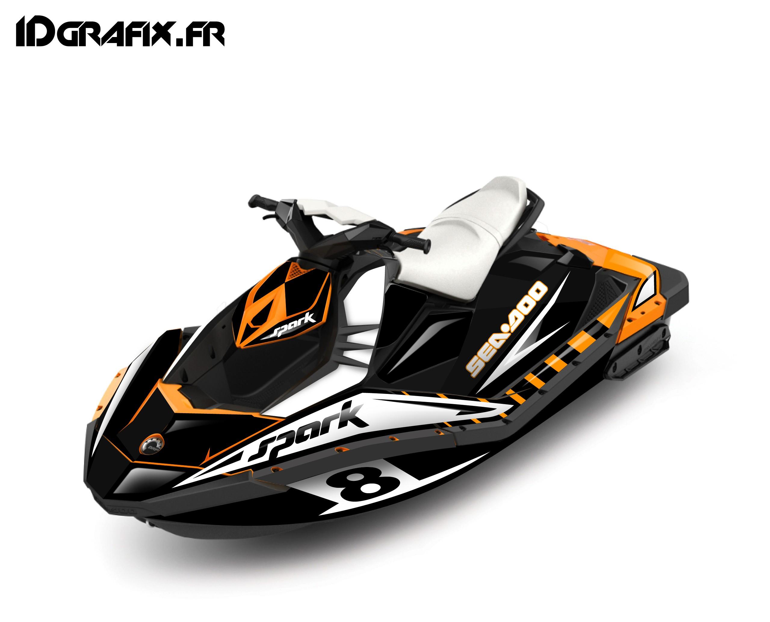 Polaris Trailblazer 250 >> Kit décoration Full Spark Limited Orange pour Seadoo Spark - idgrafix