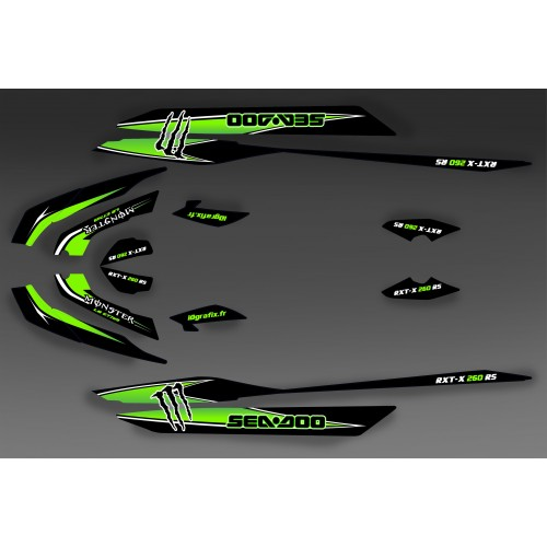 Kit décoration Monster Green for Seadoo RXT 260 / 300 (S3 hull)-idgrafix