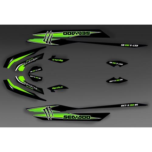 Kit décoration Monster Vert pour Seadoo RXT 260 / 300 (coque S3)