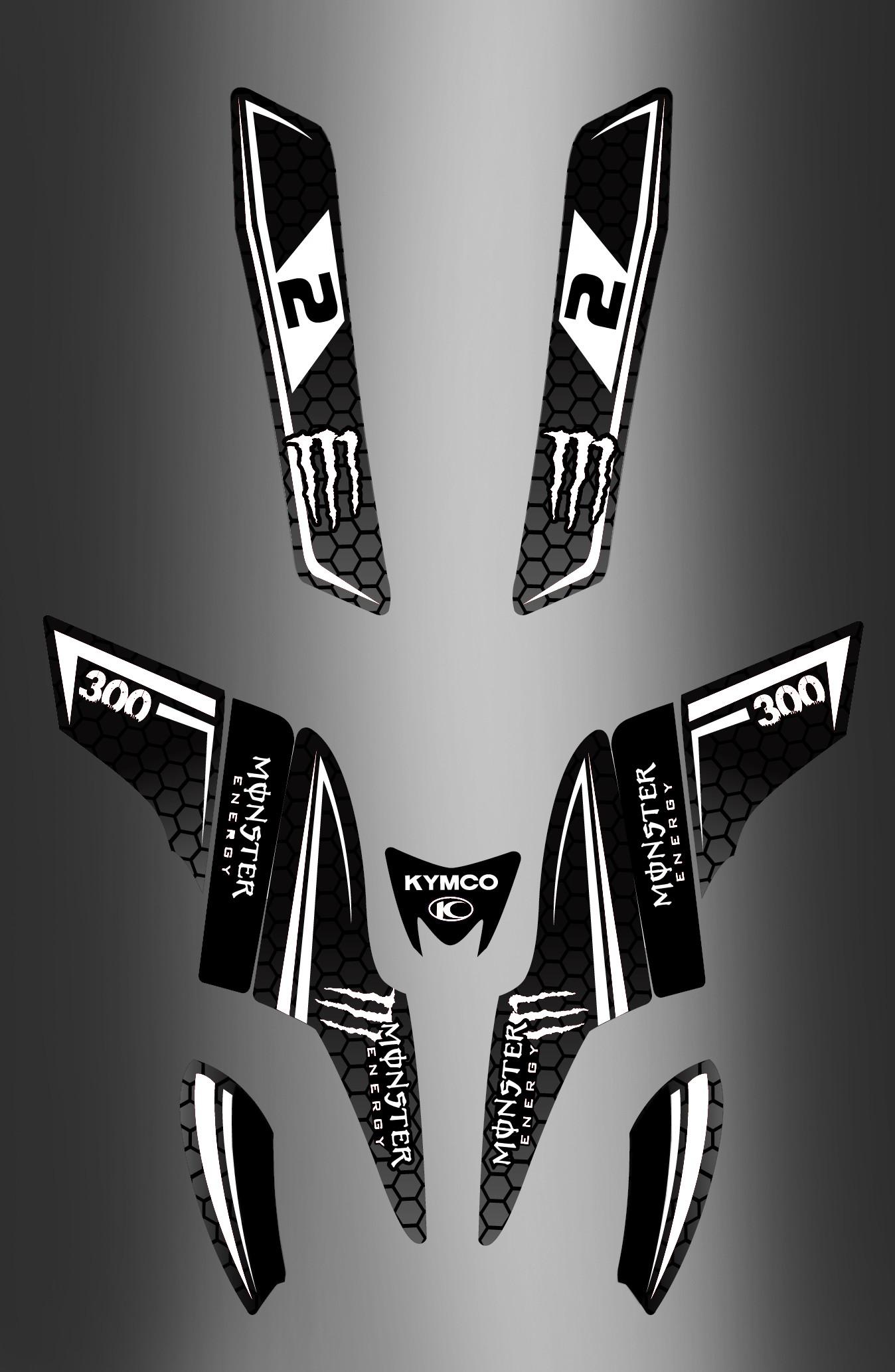 Can Am Ds 450 >> Kit-Deco-Monster (Schwarz/Weiß) - Kymco 300 Maxxer - idgrafix