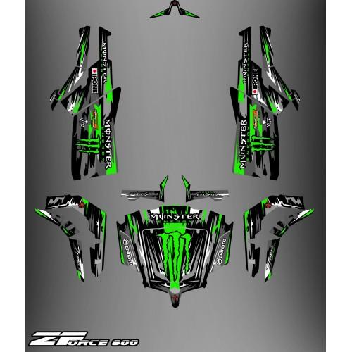 Kit de décoration Monstre Edició COMPLETA (Black/Green) - Idgrafix - CF Moto ZForce