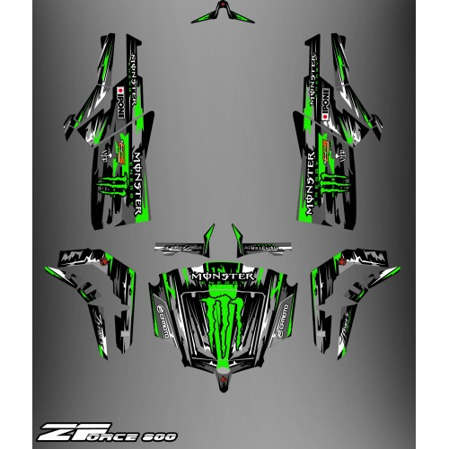 Kit dekor Monster Edition FULL (Schwarz/Grün) - Idgrafix - CF Moto ZForce-idgrafix