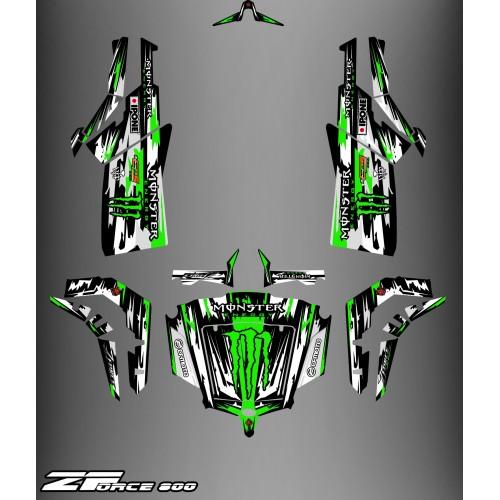 Kit de décoration Monstre Edició COMPLETA (Gris/Verd) - Idgrafix - CF Moto ZForce