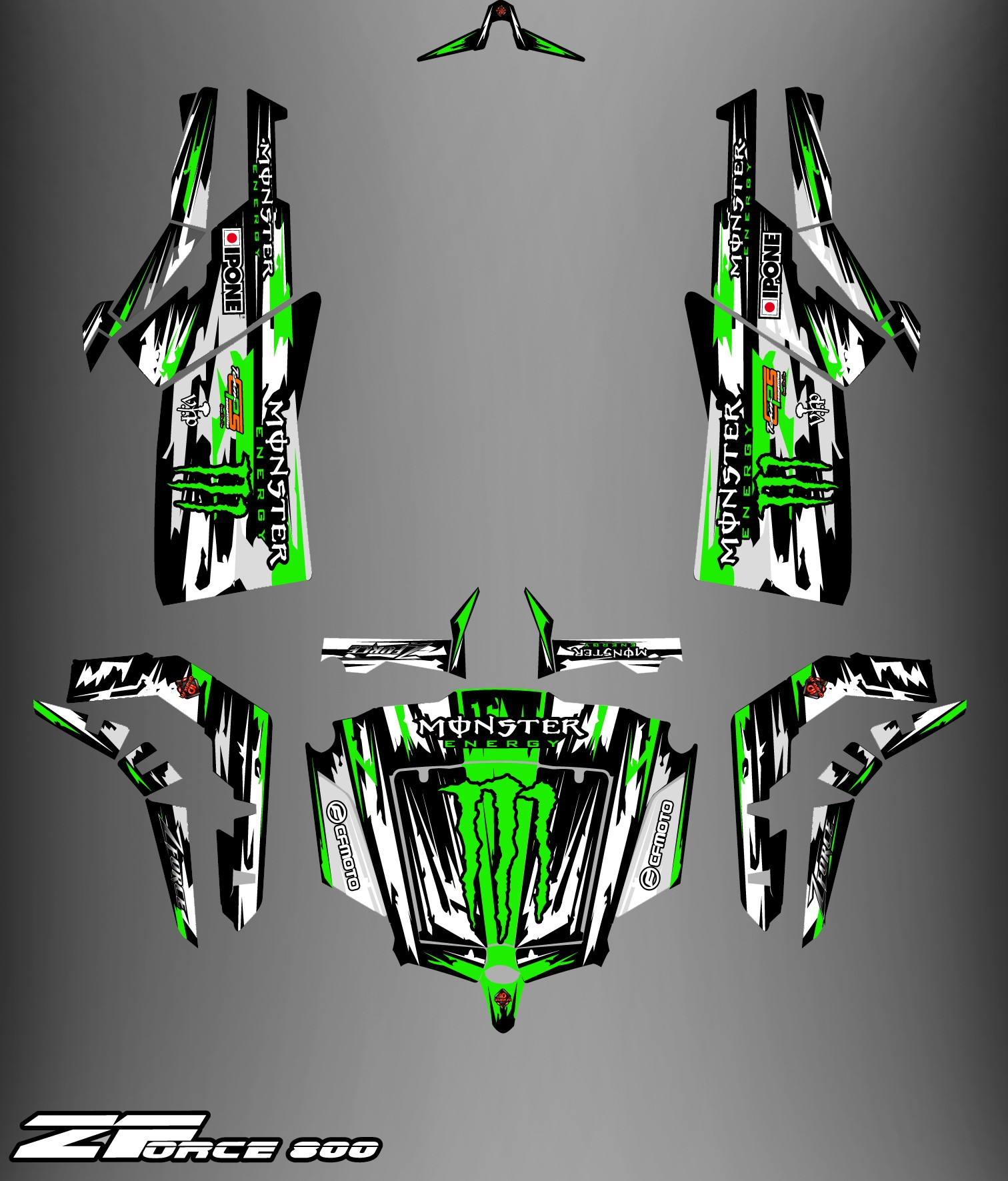 Can Am Ds 450 >> Kit décoration Monster Edition FULL (Gris/Vert) - Idgrafix - CF Mo...