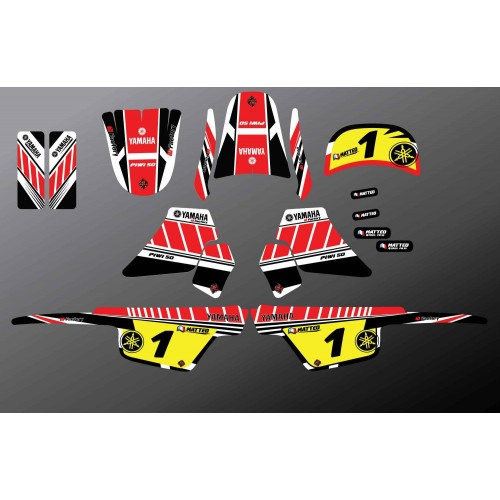 Kit decoration Red Vintage Full - IDgrafix - Yamaha 50 Piwi - IDgrafix