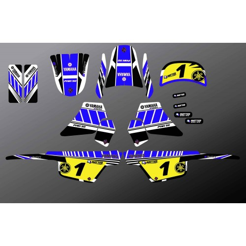 Kit decoration Blue Vintage Full - IDgrafix - Yamaha 50 Piwi - IDgrafix