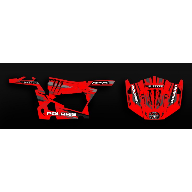 Kit decoration 100% Custom Monster Edition (Red) - IDgrafix - Polaris RZR 900 - IDgrafix