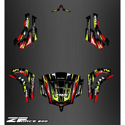 Kit de decoración Rojo/Amarillo Edición COMPLETA - Idgrafix - CF Moto ZForce -idgrafix