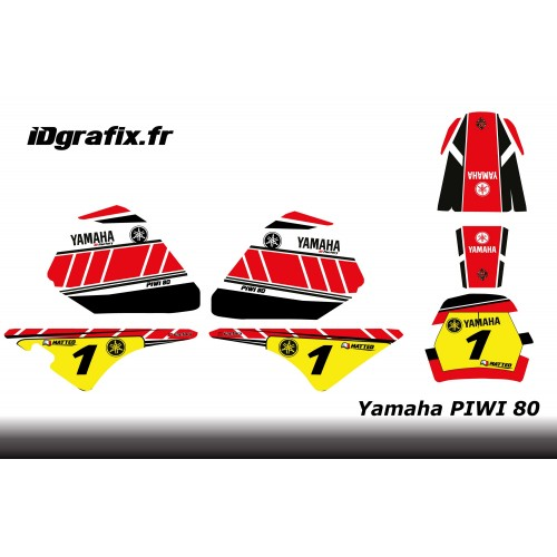 Kit décoration Red Vintage Full - IDgrafix - Yamaha 80 Piwi-idgrafix