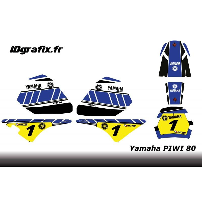 Kit décoration Blue Vintage Full - IDgrafix - Yamaha 80 Piwi-idgrafix
